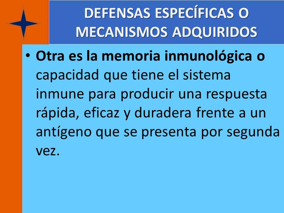 DEFENSAS ESPECÍFICAS O MECANISMOS ADQUIRIDOS Otra es la memoria inmunológica o capacidad que tiene el sistema inmune para producir una respuesta rápid