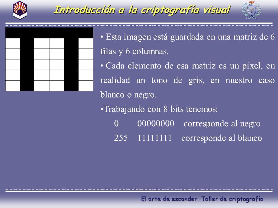 El arte de esconder. Taller de criptografía Introducción a la criptografía visual Esta imagen está guardada en una matriz de 6 filas y 6 columnas. Cad