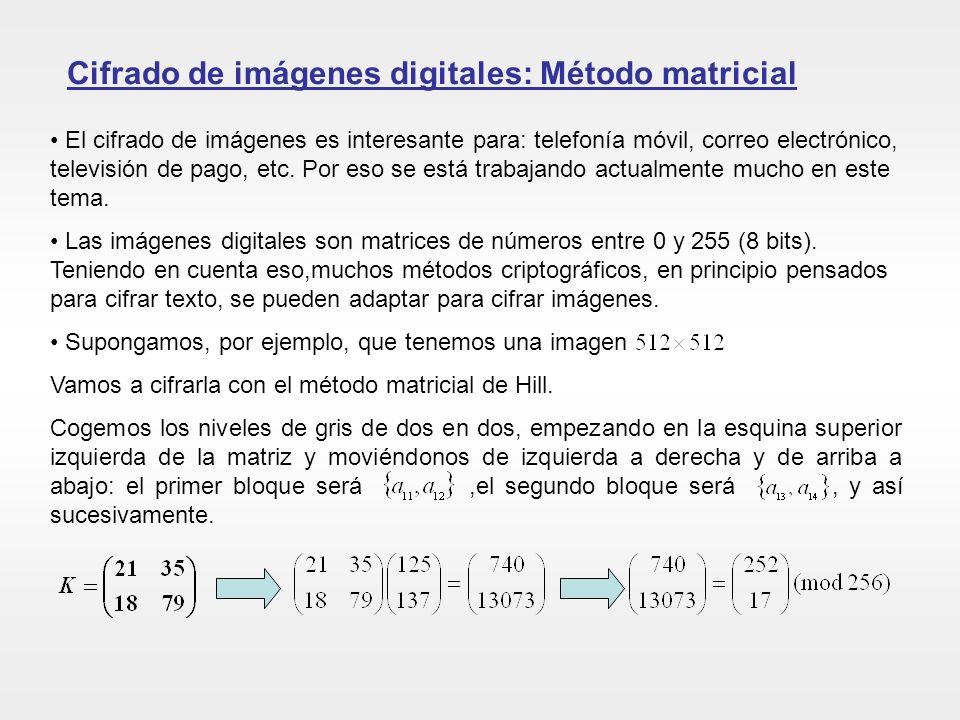 Cifrado de imágenes digitales: Método matricial El cifrado de imágenes es interesante para: telefonía móvil, correo electrónico, televisión de pago, e