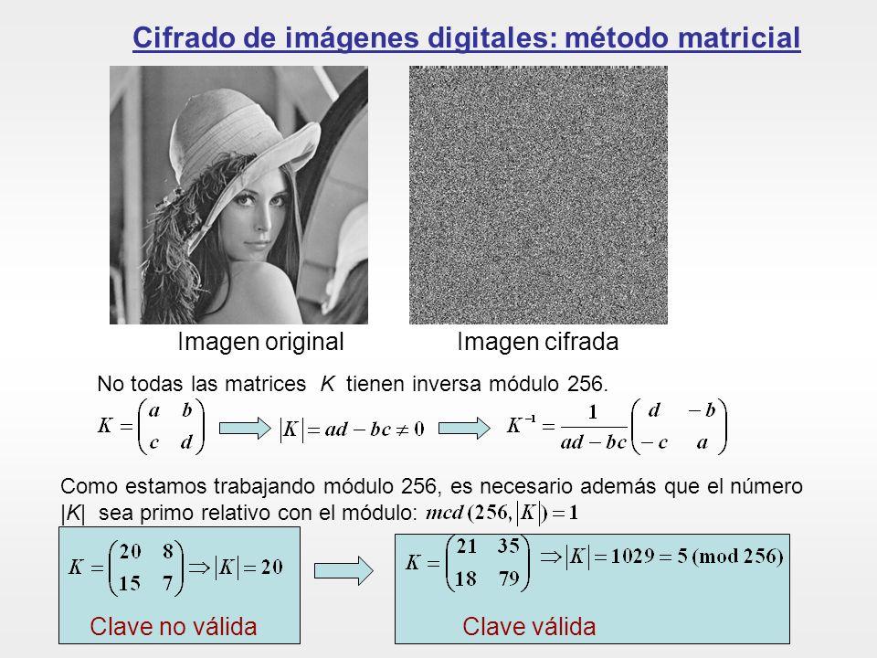 Cifrado de imágenes digitales: método matricial Imagen originalImagen cifrada No todas las matrices K tienen inversa módulo 256. Como estamos trabajan