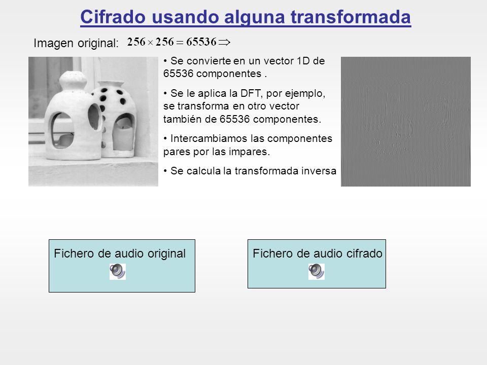 Cifrado usando alguna transformada Imagen original: Se convierte en un vector 1D de 65536 componentes. Se le aplica la DFT, por ejemplo, se transforma