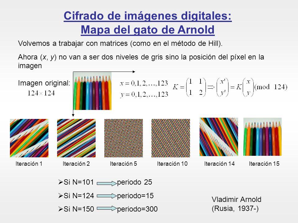 Cifrado de imágenes digitales: Mapa del gato de Arnold Volvemos a trabajar con matrices (como en el método de Hill). Ahora (x, y) no van a ser dos niv