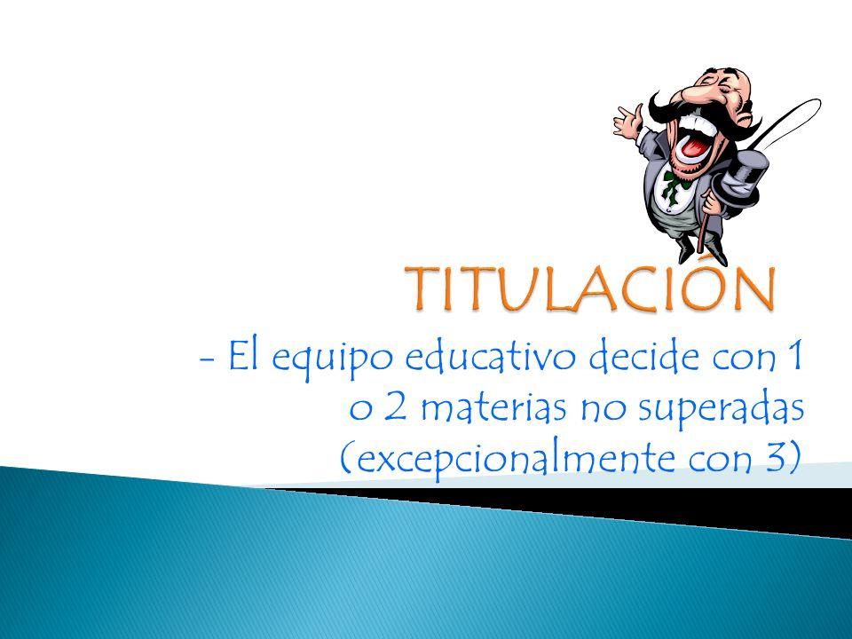 - El equipo educativo decide con 1 o 2 materias no superadas (excepcionalmente con 3)