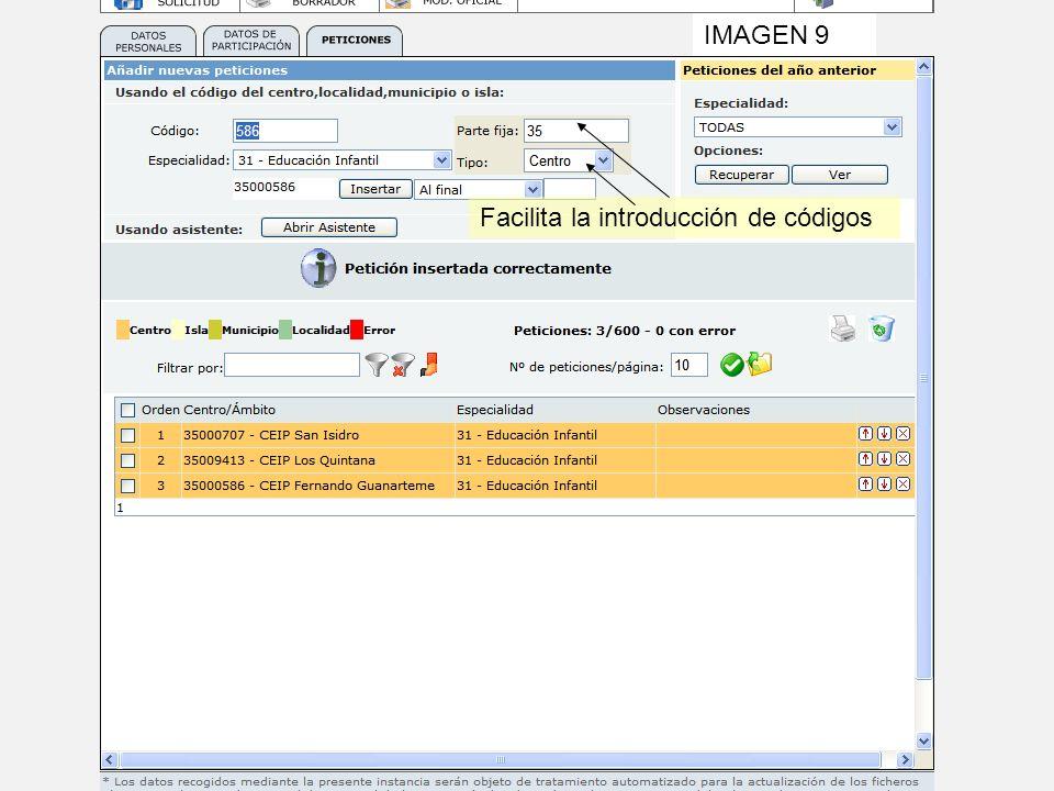 IMAGEN 9 Facilita la introducción de códigos