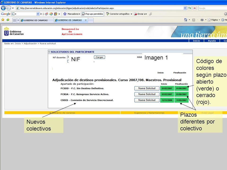 Gestión Integrada del Personal Docente (GIPD) Plazos diferentes por colectivo Nuevos colectivos Imagen 1 NIF Código de colores según plazo: abierto (v