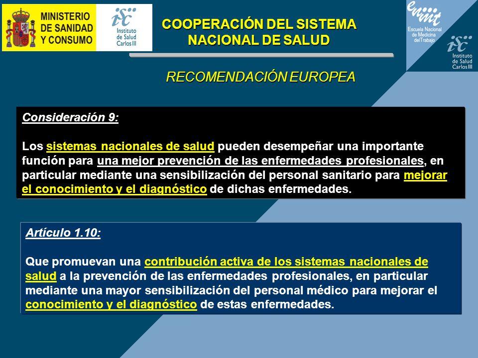Artículo 1.10: Que promuevan una contribución activa de los sistemas nacionales de salud a la prevención de las enfermedades profesionales, en particu