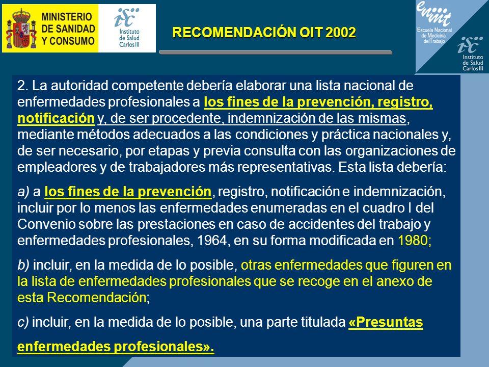 2. La autoridad competente debería elaborar una lista nacional de enfermedades profesionales a los fines de la prevención, registro, notificación y, d
