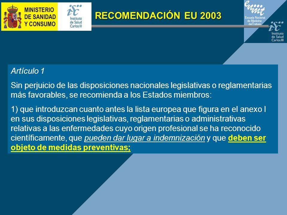 Artículo 1 Sin perjuicio de las disposiciones nacionales legislativas o reglamentarias más favorables, se recomienda a los Estados miembros: 1) que in