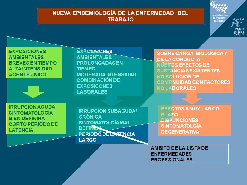EXPOSICONES AMBIENTALES PROLONGADAS EN TIEMPO MODERADA INTENSIDAD COMBINACIÓN DE EXPOSICONES LABORALES IRRUPCIÓN AGUDA SINTOMATOLOGÍA BIEN DEFININA CO