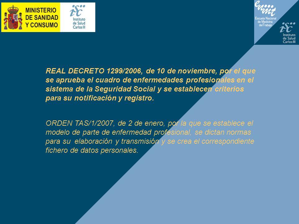 REAL DECRETO 1299/2006, de 10 de noviembre, por el que se aprueba el cuadro de enfermedades profesionales en el sistema de la Seguridad Social y se es