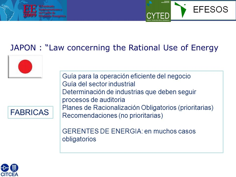 JAPON : Law concerning the Rational Use of Energy FABRICAS Guía para la operación eficiente del negocio Guía del sector industrial Determinación de in