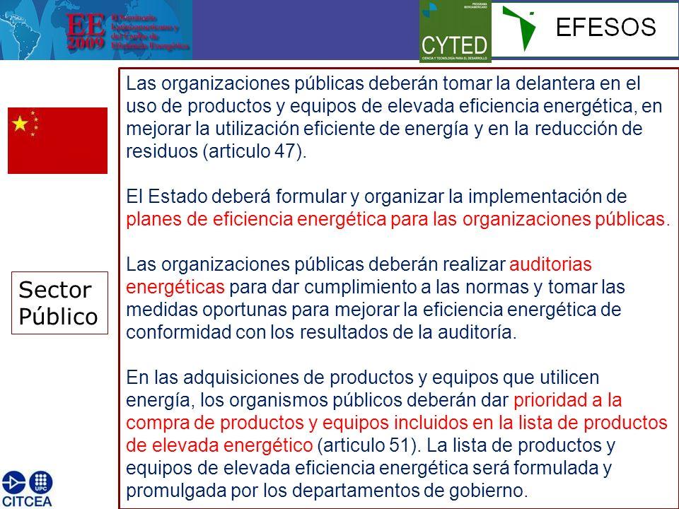 Sector Público Las organizaciones públicas deberán tomar la delantera en el uso de productos y equipos de elevada eficiencia energética, en mejorar la utilización eficiente de energía y en la reducción de residuos (articulo 47).