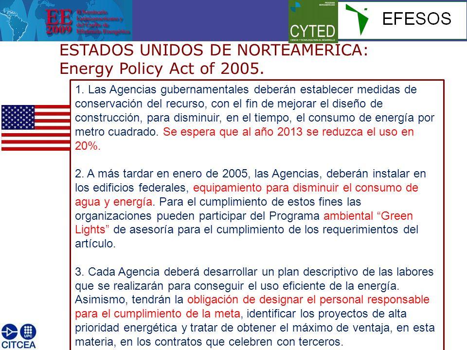 ESTADOS UNIDOS DE NORTEAMERICA: Energy Policy Act of 2005. 1. Las Agencias gubernamentales deberán establecer medidas de conservación del recurso, con
