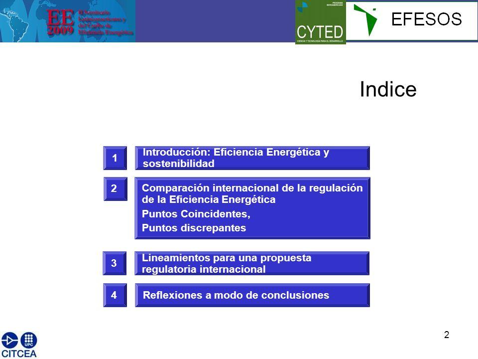 3 1 Introducción: Eficiencia Energética y sostenibilidad Indice 3 Lineamientos para una propuesta regulatoria internacional 2 Comparación internacional de la regulación de la Eficiencia Energética Puntos Coincidentes, Puntos discrepantes 4Reflexiones a modo de conclusiones