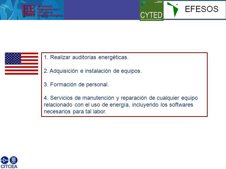 1. Realizar auditorias energéticas. 2. Adquisición e instalación de equipos.
