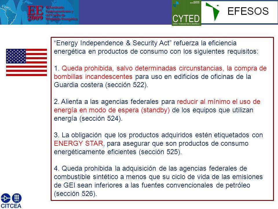 Energy Independence & Security Act refuerza la eficiencia energética en productos de consumo con los siguientes requisitos: 1. Queda prohibida, salvo