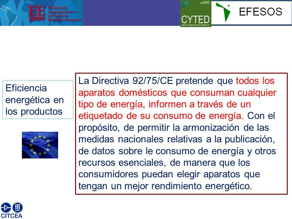 Eficiencia energética en los productos La Directiva 92/75/CE pretende que todos los aparatos domésticos que consuman cualquier tipo de energía, informen a través de un etiquetado de su consumo de energía.