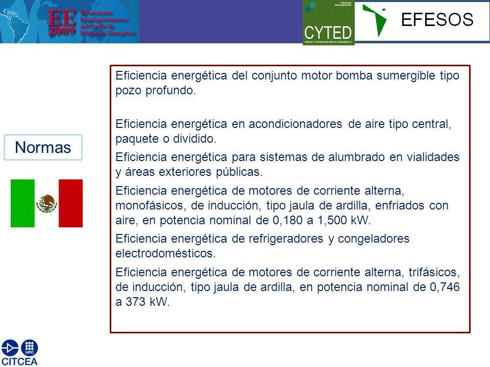 Eficiencia energética del conjunto motor bomba sumergible tipo pozo profundo.
