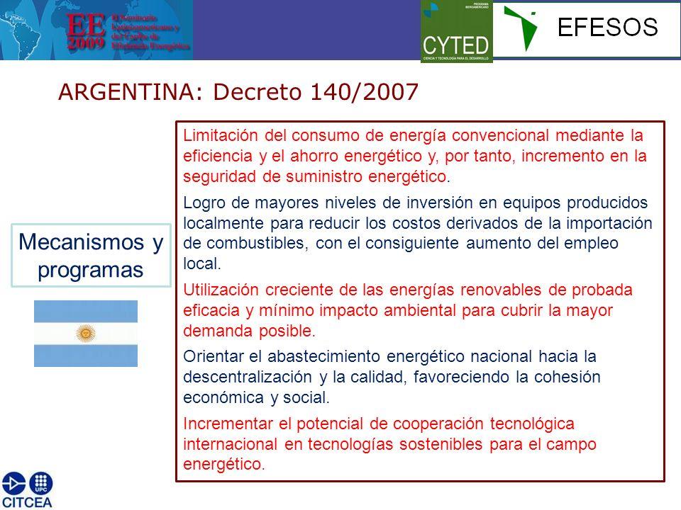 ARGENTINA: Decreto 140/2007 Mecanismos y programas Limitación del consumo de energía convencional mediante la eficiencia y el ahorro energético y, por tanto, incremento en la seguridad de suministro energético.