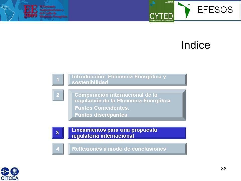 38 1 Introducción: Eficiencia Energética y sostenibilidad Indice 3 Lineamientos para una propuesta regulatoria internacional 2 Comparación internacional de la regulación de la Eficiencia Energética Puntos Coincidentes, Puntos discrepantes 4Reflexiones a modo de conclusiones