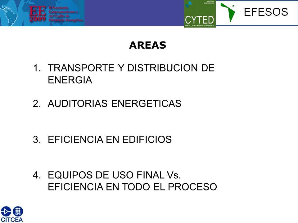 AREAS 1.TRANSPORTE Y DISTRIBUCION DE ENERGIA 2.AUDITORIAS ENERGETICAS 3.EFICIENCIA EN EDIFICIOS 4.EQUIPOS DE USO FINAL Vs. EFICIENCIA EN TODO EL PROCE