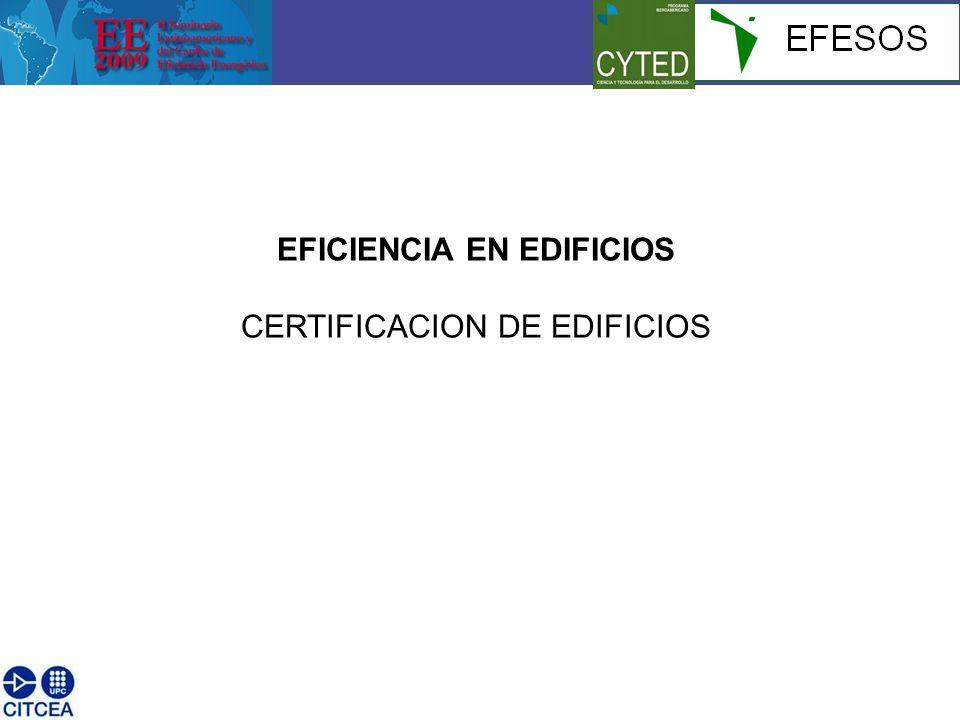 EFICIENCIA EN EDIFICIOS CERTIFICACION DE EDIFICIOS