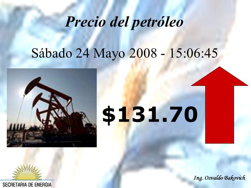 Ing. Osvaldo Bakovich Precio del petróleo Sábado 24 Mayo 2008 - 15:06:45 $131.70