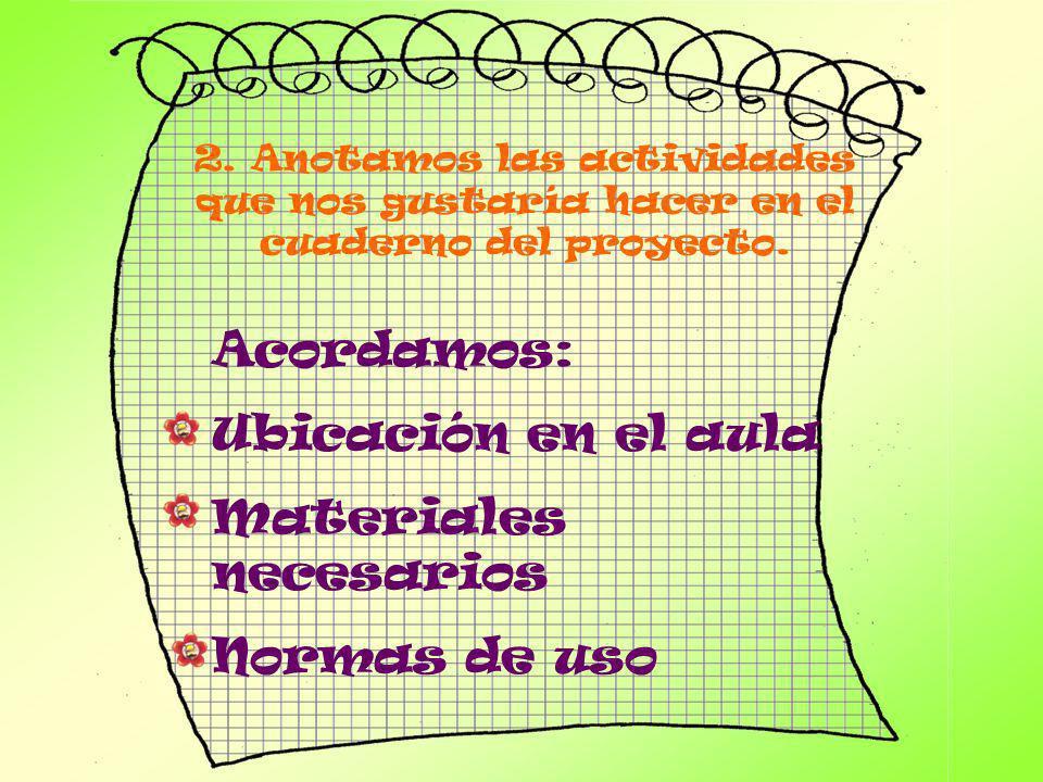 2. Anotamos las actividades que nos gustaría hacer en el cuaderno del proyecto. Acordamos: Ubicación en el aula Materiales necesarios Normas de uso