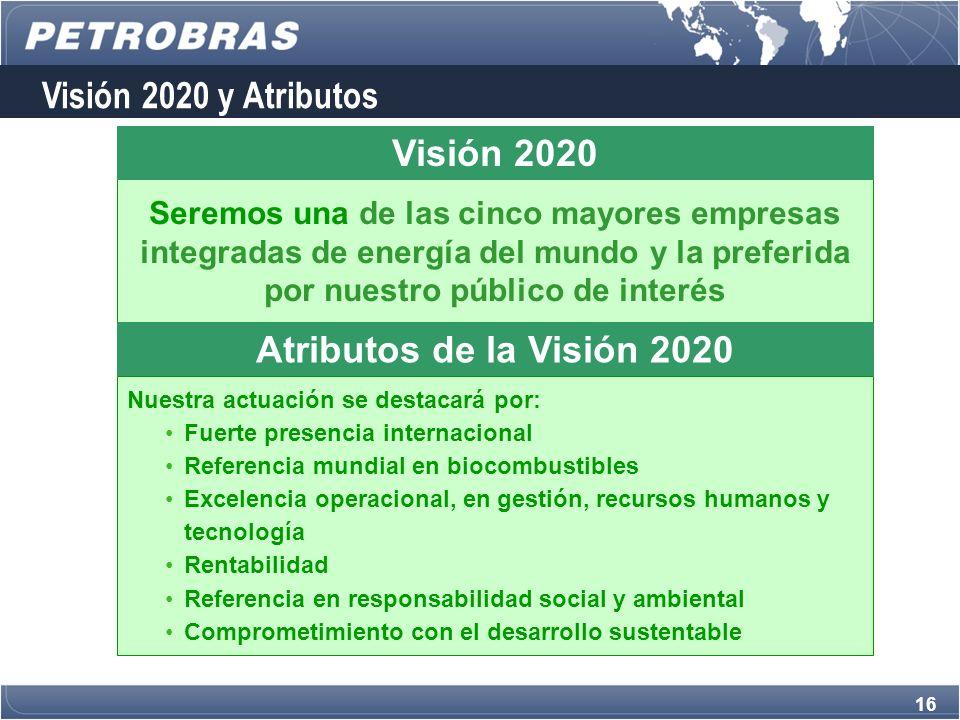 16 Seremos una de las cinco mayores empresas integradas de energía del mundo y la preferida por nuestro público de interés Visión 2020 Nuestra actuación se destacará por: Fuerte presencia internacional Referencia mundial en biocombustibles Excelencia operacional, en gestión, recursos humanos y tecnología Rentabilidad Referencia en responsabilidad social y ambiental Comprometimiento con el desarrollo sustentable Atributos de la Visión 2020 Visión 2020 y Atributos
