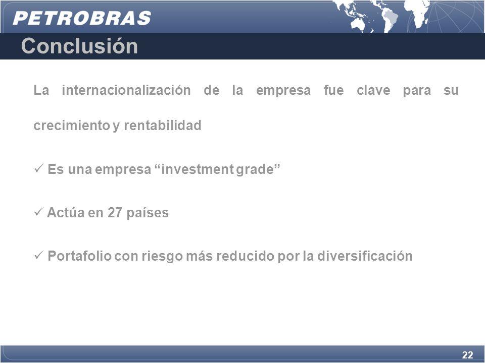 22 La internacionalización de la empresa fue clave para su crecimiento y rentabilidad Es una empresa investment grade Actúa en 27 países Portafolio con riesgo más reducido por la diversificación Conclusión