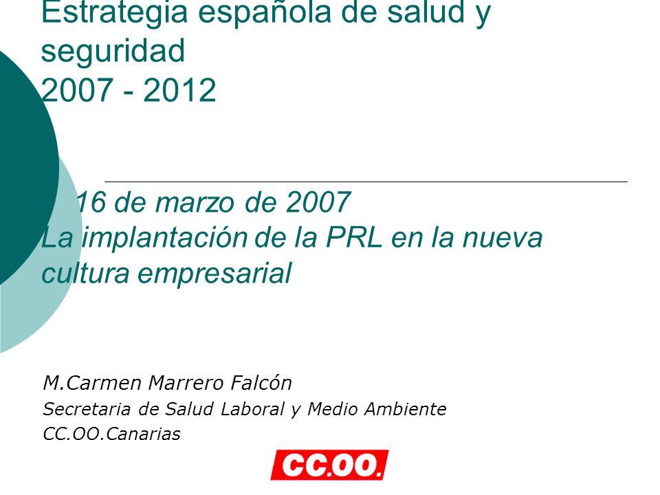 Estrategia española de salud y seguridad 2007 - 2012 16 de marzo de 2007 La implantación de la PRL en la nueva cultura empresarial M.Carmen Marrero Falcón Secretaria de Salud Laboral y Medio Ambiente CC.OO.Canarias