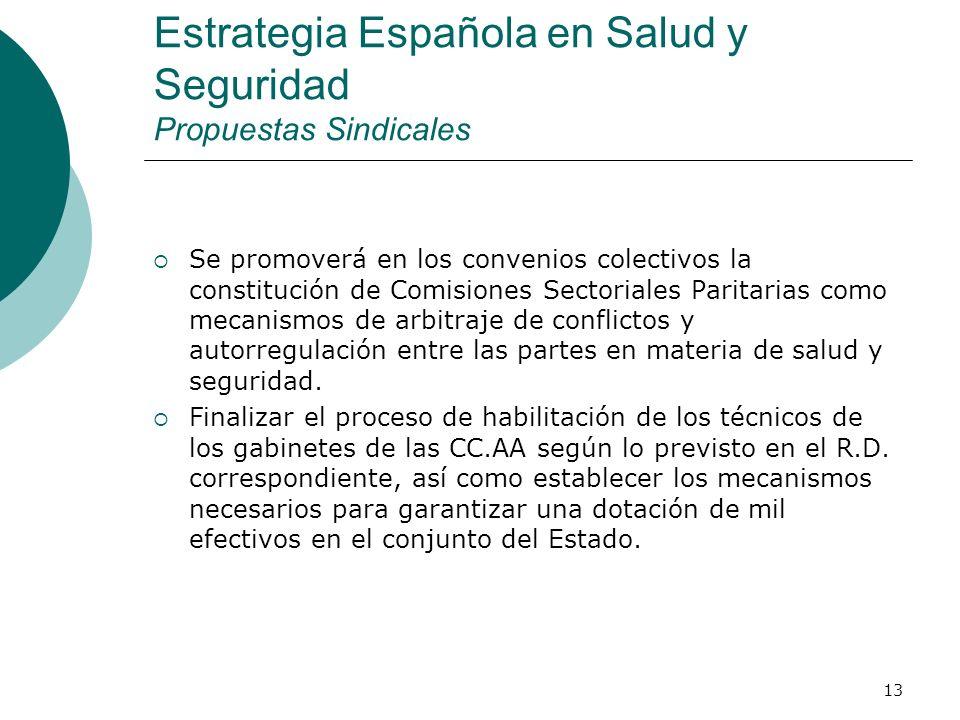 13 Estrategia Española en Salud y Seguridad Propuestas Sindicales Se promoverá en los convenios colectivos la constitución de Comisiones Sectoriales Paritarias como mecanismos de arbitraje de conflictos y autorregulación entre las partes en materia de salud y seguridad.