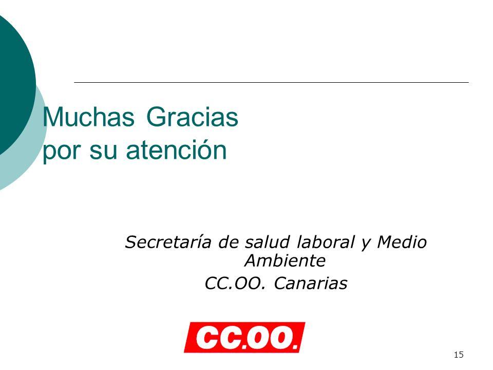 15 Muchas Gracias por su atención Secretaría de salud laboral y Medio Ambiente CC.OO. Canarias