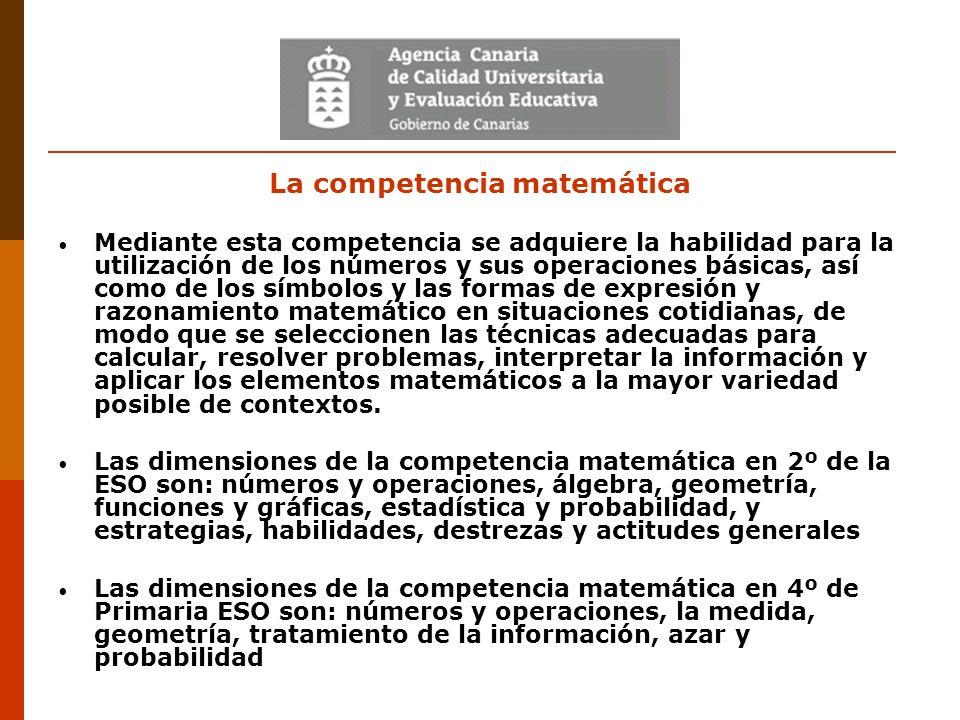 La competencia matemática Mediante esta competencia se adquiere la habilidad para la utilización de los números y sus operaciones básicas, así como de