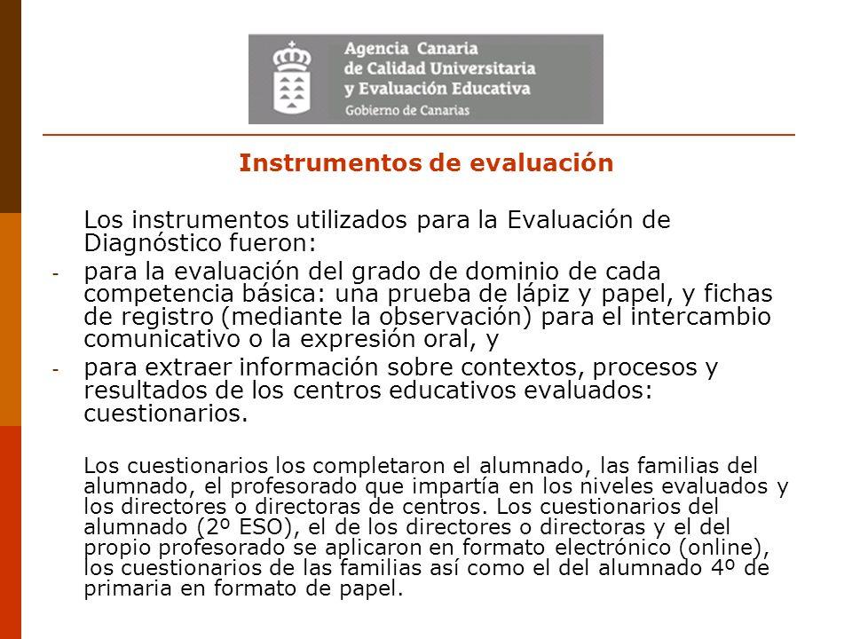 Instrumentos de evaluación Los instrumentos utilizados para la Evaluación de Diagnóstico fueron: - para la evaluación del grado de dominio de cada com