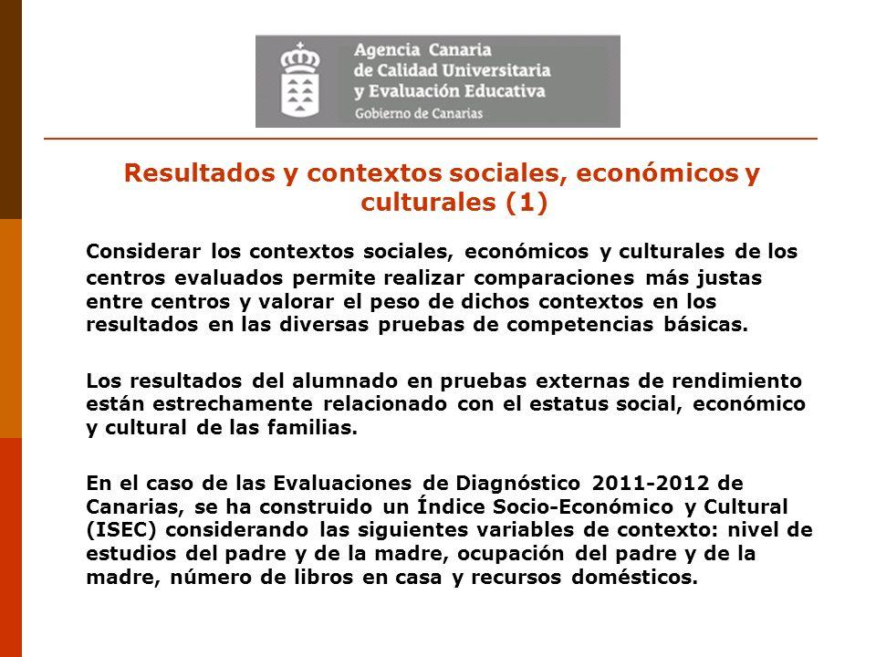 Resultados y contextos sociales, económicos y culturales (1) Considerar los contextos sociales, económicos y culturales de los centros evaluados permi