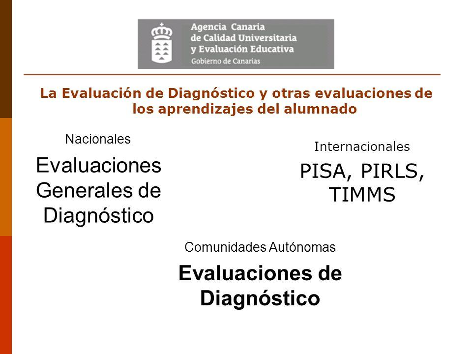 La Evaluación de Diagnóstico y otras evaluaciones de los aprendizajes del alumnado Internacionales PISA, PIRLS, TIMMS Nacionales Evaluaciones Generale