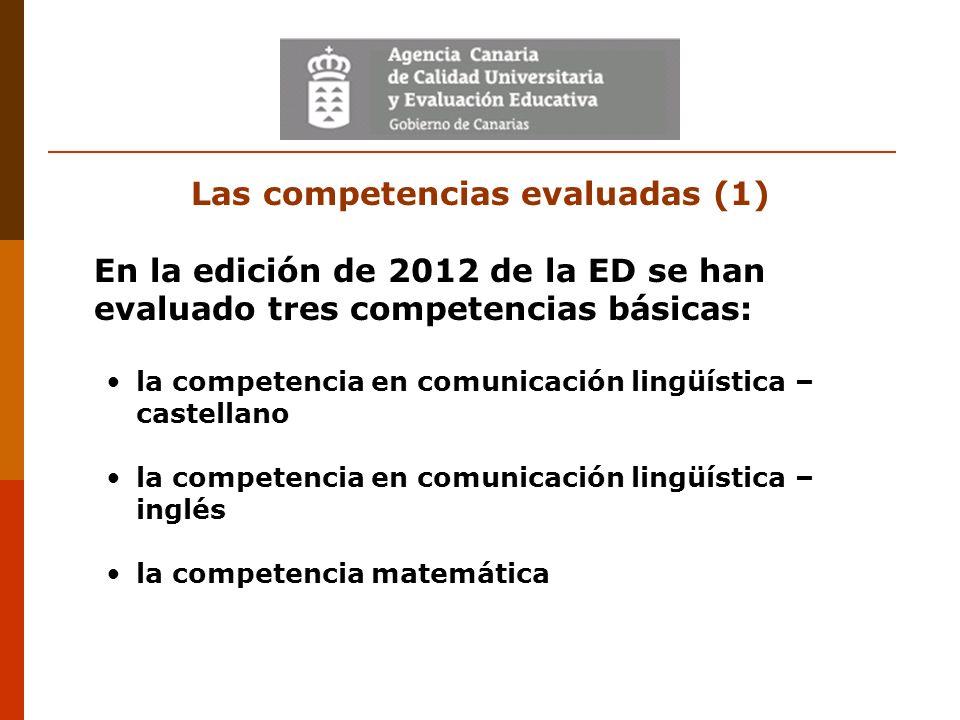 Las competencias evaluadas (1) En la edición de 2012 de la ED se han evaluado tres competencias básicas: la competencia en comunicación lingüística –