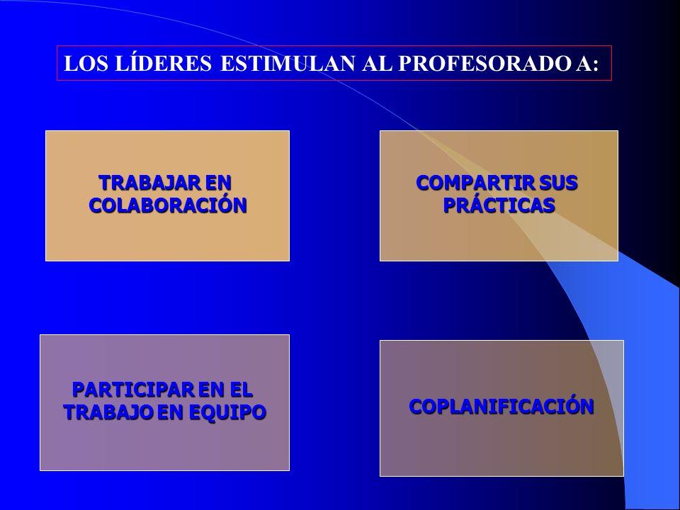 TRABAJAR EN COLABORACIÓN COMPARTIR SUS PRÁCTICAS PARTICIPAR EN EL TRABAJO EN EQUIPO COPLANIFICACIÓN LOS LÍDERES ESTIMULAN AL PROFESORADO A: