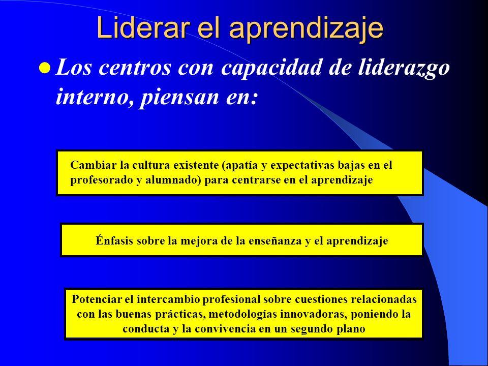 Liderar el aprendizaje Los centros con capacidad de liderazgo interno, piensan en: Potenciar el intercambio profesional sobre cuestiones relacionadas
