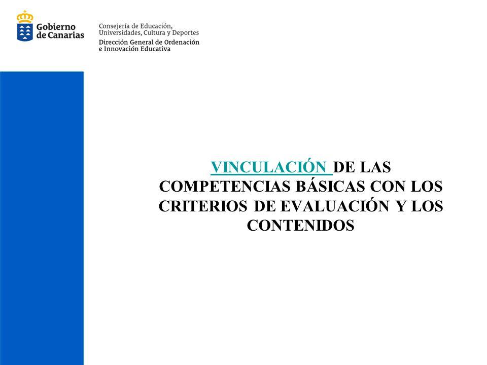 VINCULACIÓN VINCULACIÓN DE LAS COMPETENCIAS BÁSICAS CON LOS CRITERIOS DE EVALUACIÓN Y LOS CONTENIDOS