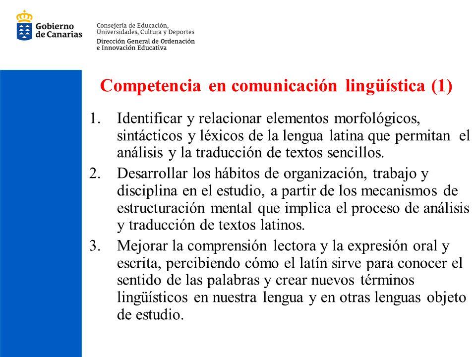 Competencia en comunicación lingüística (1) 1.Identificar y relacionar elementos morfológicos, sintácticos y léxicos de la lengua latina que permitan