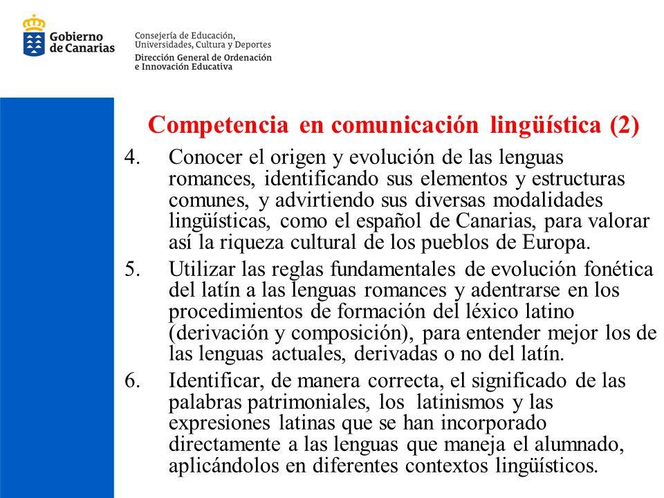 Competencia en comunicación lingüística (2) 4.Conocer el origen y evolución de las lenguas romances, identificando sus elementos y estructuras comunes