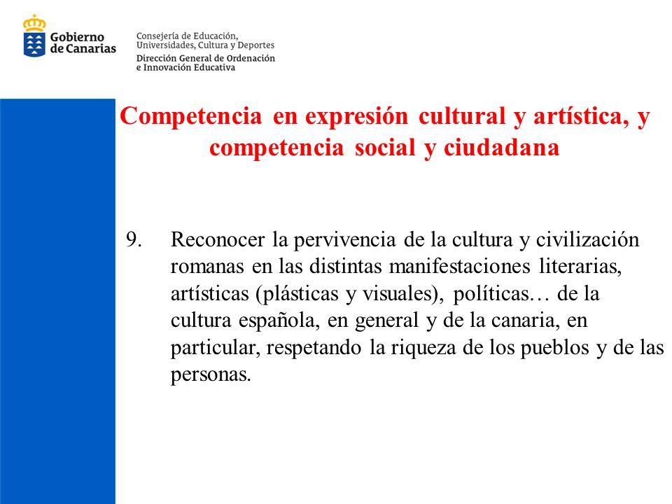 Competencia en expresión cultural y artística, y competencia social y ciudadana 9.Reconocer la pervivencia de la cultura y civilización romanas en las