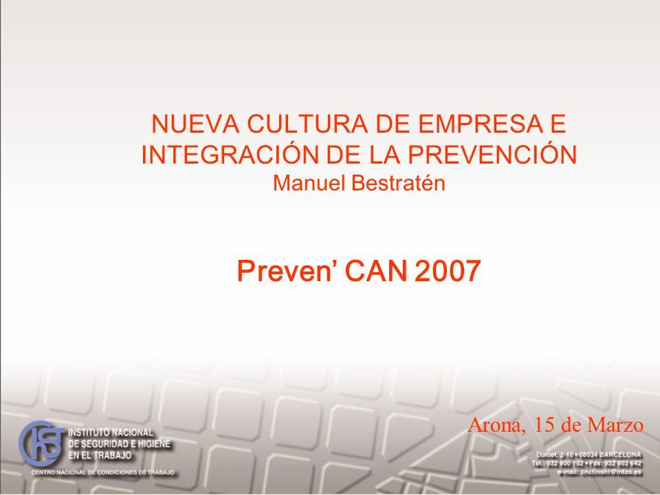 NUEVA CULTURA DE EMPRESA E INTEGRACIÓN DE LA PREVENCIÓN Manuel Bestratén Preven CAN 2007 Arona, 15 de Marzo