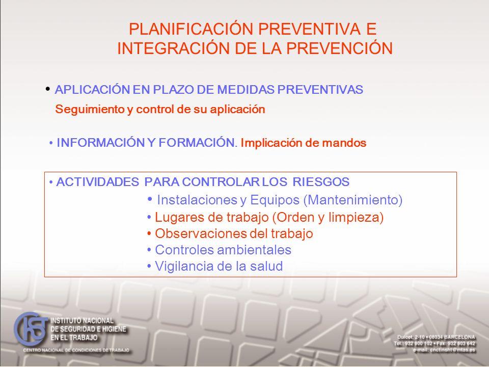 PLANIFICACIÓN PREVENTIVA E INTEGRACIÓN DE LA PREVENCIÓN APLICACIÓN EN PLAZO DE MEDIDAS PREVENTIVAS Seguimiento y control de su aplicación INFORMACIÓN