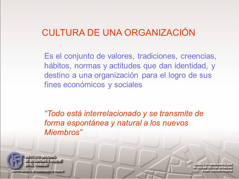 CULTURA DE UNA ORGANIZACIÓN Es el conjunto de valores, tradiciones, creencias, hábitos, normas y actitudes que dan identidad, y destino a una organiza