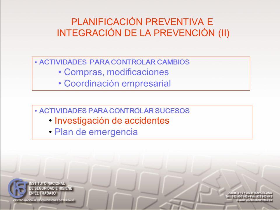 PLANIFICACIÓN PREVENTIVA E INTEGRACIÓN DE LA PREVENCIÓN (II) ACTIVIDADES PARA CONTROLAR CAMBIOS Compras, modificaciones Coordinación empresarial ACTIV