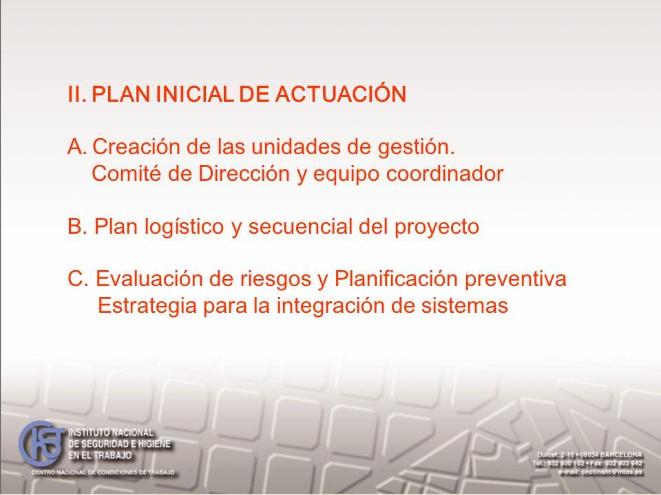 II. PLAN INICIAL DE ACTUACIÓN A.Creación de las unidades de gestión. Comité de Dirección y equipo coordinador B. Plan logístico y secuencial del proye