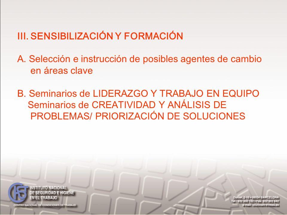 III. SENSIBILIZACIÓN Y FORMACIÓN A. Selección e instrucción de posibles agentes de cambio en áreas clave B. Seminarios de LIDERAZGO Y TRABAJO EN EQUIP